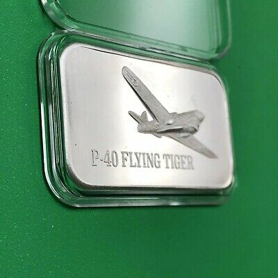 Curtiss P-40 Flying Tiger Mark IV Art Bar 1 Troy Oz .999 Fine Silver Ingot Medal