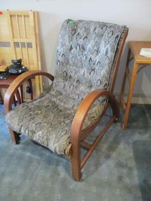 Antique Wooden Morris Chair Armchair On Wheels Good Upholstery