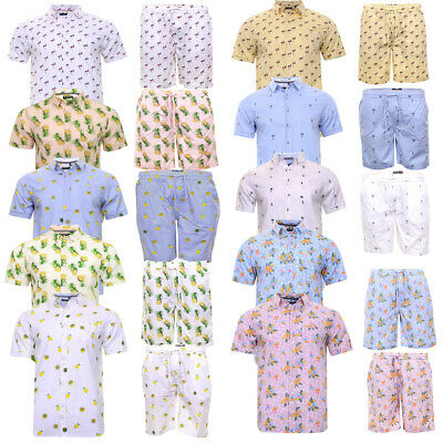 Mens Brave Soul Fun Print Matching Hawaiian Shirts and Shorts 100% Cotton