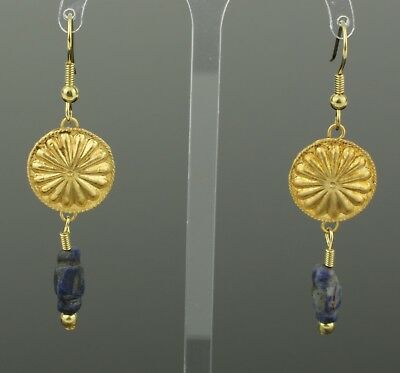 ANCIENT ROMAN GOLD & LAPIS BEAD EARRINGS - CIRCA 2nd Century AD   891