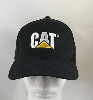85f835df Black Caterpillar CAT Equipment Trucker Twill Mesh Diesel Cap Hat Cap