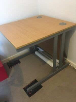 home office/study desk Metal Frame Very Sturdy Adjustable Height Oak Effect Top