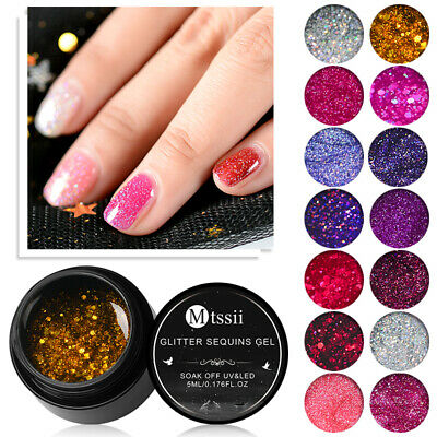 MTSSII 5ml Holographic Glitter Nail Gel Polish Shiny Laser Soak Off UV Gel Nail
