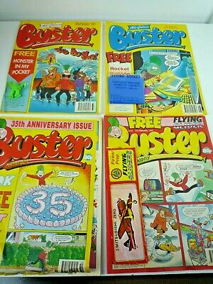 Vintage 1993-95 4 Buster Weekly Comics With Free Gifts Still Attached