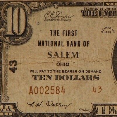 1929 -The First Natl Bank Of Salem, OH - $10 National Currency -T2 - #43 - #641Z