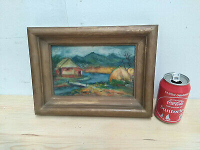 "Vintage Picture Painting hand painted unknown artist 8.5x5.5"" Gilded wood frame"