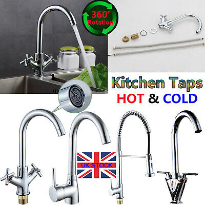 Hot cold Swivel Kitchen Sink Faucet Mixer Spray Rinser Brass Bathroom Tap Chrome