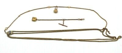 """Lot Of 3 Antique Watch Fobs Chains 52"""" With Slide 16"""" & 5"""" W/ Charms Nr #3682"""