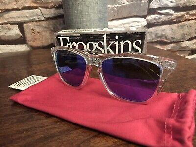 8645e7ed11 Oakley Polished clear frame Frogskins. Violet iridium lens. With case.