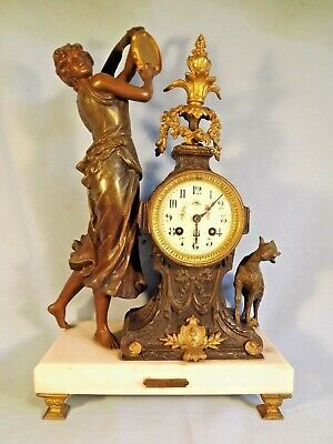 19c French Figural Clock c1890 Working Order.