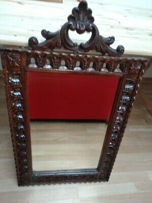 Antique Wood French Mirror in Carved Oak 1900-1950, Heavily Carved Large