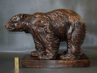 Rare Antique Large Black Forest Hand Carved Wood Bear Statue Sculpture