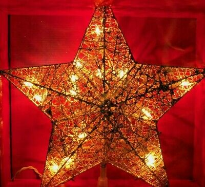 Holiday Time 13.5 in Glitter Wire Thread Gold Star Tree Topper