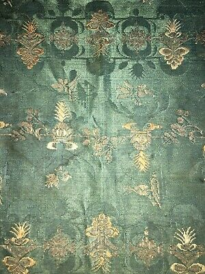 Early Asian Green Silk Brocade With Gold Thread Embroidery Table Cover Fragment