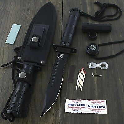 "10.5"" SURVIVAL TACTICAL HUNTING KNIFE w/ KIT SHEATH Compass Bowie Fixed Blade"