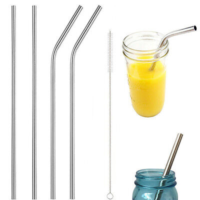 Stainless Steel Metal Drinking Straw Reusable Straws With Cleaning Brush S