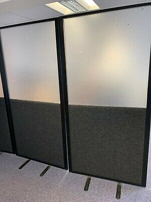 11 x Office Partition Screens / Room Dividers - 2m x 1m - Charcoal
