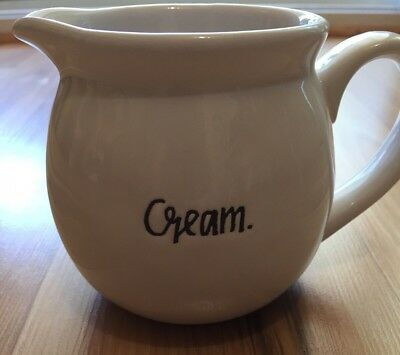 Rae Dunn CREAM Pitcher Creamer Small Font Farmhouse Artisan Collection Magenta