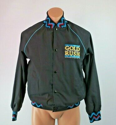 VTG 80s Cripple Creek, CO GOLD RUSH Casino Gold Black Aztec Bomber Jacket S USA