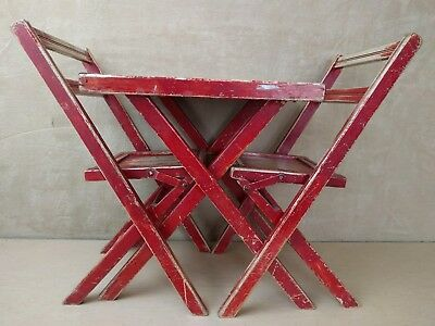 Vintage~Folding~Table~Chairs~Wood~Children's~Child's~