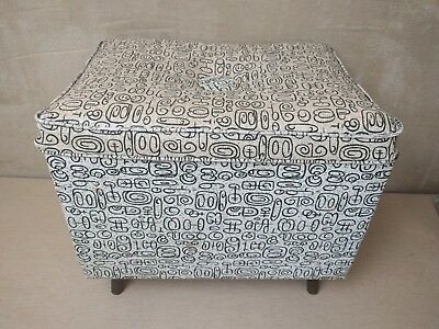 Vintage~Mid Century~Modern~MCM~Footstool~Storage~Box~Padded Seat~50s~Blk/Wh~