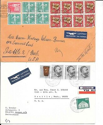 Switzerland air mail covers, 1965, 1975 to USA
