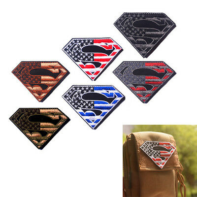 a8a7bb645352 Superman American Flag USA Army Military Tactical Patch Sewing Hook Loop UE