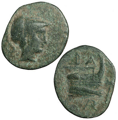 Ancient Greek bronze coin of Demetrios I Poliorketes, king of Macedonia. Prow.