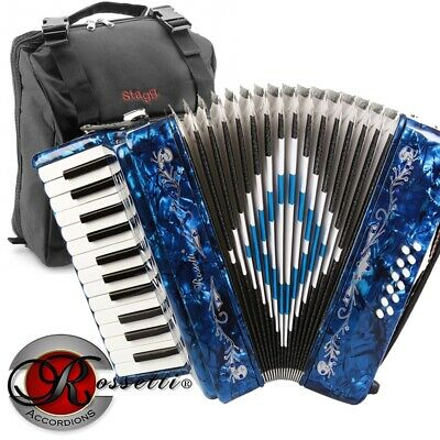 Rossetti Beginner Piano Accordion 12 Bass 25 Keys Blue