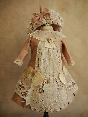 Bonnet and dress for  French, German antique doll