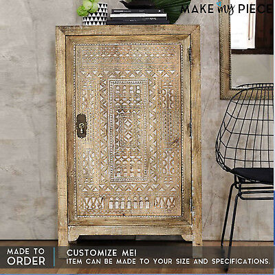 MADE TO ORDER Antique Indian Carved Solid wood Cabinet Cupboard Almirah 120cm