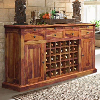 MADE TO ORDER indian rosewood Style Bar Cabinet with wine rack sideboard cabinet