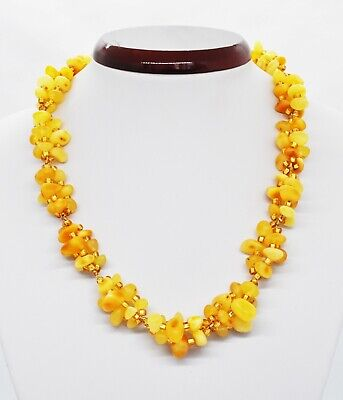 42.76gr Natural Baltic Amber Necklace Antique Genuine Egg Yolk Honey Beads