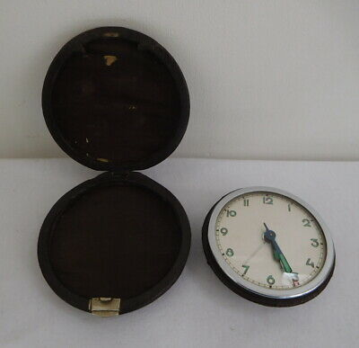 Vintage Art Deco 1930s Travelling Alarm Clock Working Case A/F Foreign