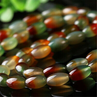 Natural peacock agate rice beads loose beads DIY Makings Top Stone Accessories