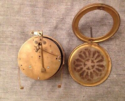 Antique HAC Barrel Clock Movement Brass Bezel Silvered Face 12cm Untested