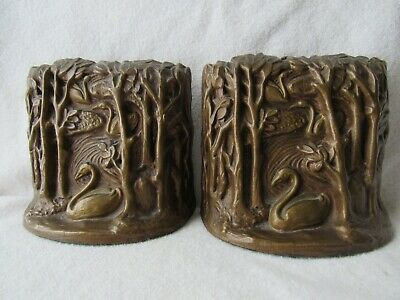 Antique Bookends Aronson early 20th 1923 Bronze Finish metal  Art Deco Swans