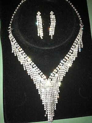 Diamante Crystal Earrings Necklace Set Evening Party Wedding Bridal Jewellery 03