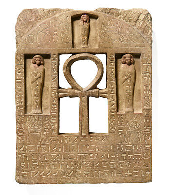 """Egyptian Stele for Senebef and Ipta Artifact Carved Sculpture Statue 17"""" museum"""