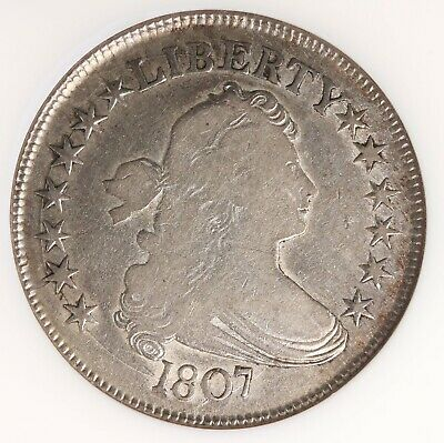 1807 Draped Bust 50C NGC Certified F15 O-109A Fine Graded Early US Silver Coin