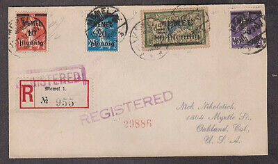 Germany - 1920 Registered MEMEL cover with Michel #57 stamp mailed to USA
