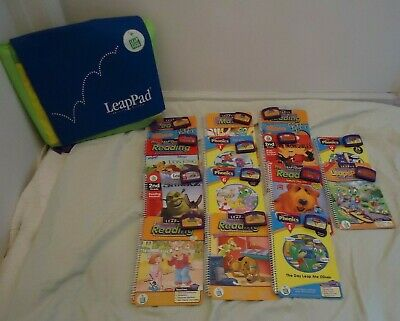 Lot of 14 books & 14 cartridges leap pad leap frog learning system & back pack