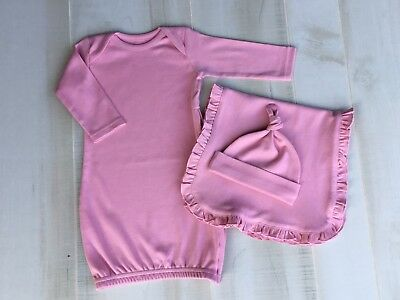 eecc4d6a18e Dusty Pink Girls Baby Gown Beanie Hat Burp Cloth Layette Set Infant Gift  Blanks