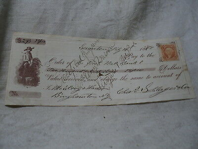 Farmer Vignette on 1870 Bank Check with Revenue stamp