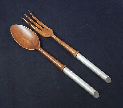 Vintage French Pair Mid Century Modern 1950s/60s Sterling Silver Wood Salad Set