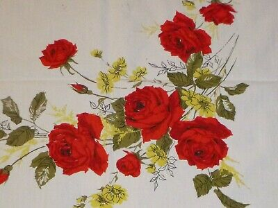"""Vtg Cotton Tablecloth Red Roses & Yellow Flowers 47 x 50"""""""