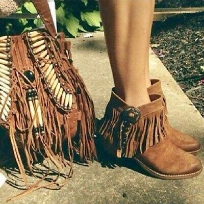 dae7a7bb0ad43 Sam Edelman 6.5 Sidney Western Fringe Ankle Boots Booties EUC Brown leather