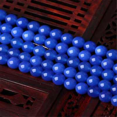 Deep Blue Chalcedony loose beads 6mm 8mm 10mm Styles Charm Jewelry Opaque