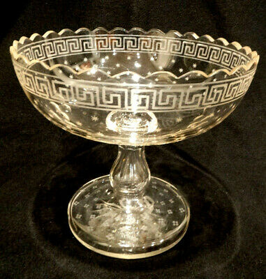 "Antique Anglo Irish Greek Key Etched 8.25"" Tall Crystal Center Compote, c.1820"