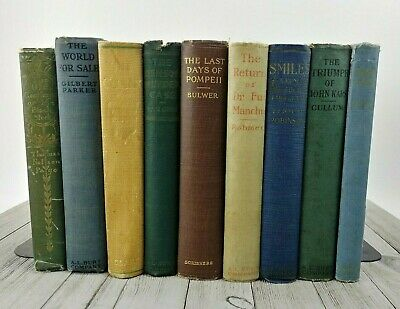 Antique Vintage Book Library Shelf Lot Blue Green Brown Shabby Chic 1901 - 1926